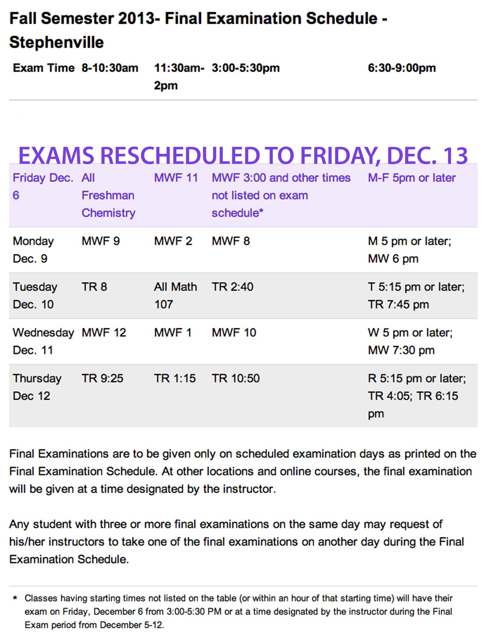 Final Exams Rescheduled