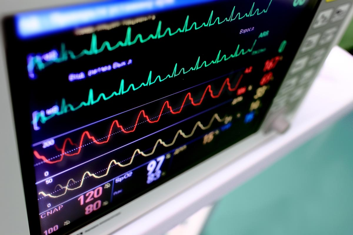 Vital signs on a computer screen
